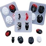 FHYT 3 szt. Halloween silikonowe formy czaszka potwór w kształcie nietoperza żywica epoksydowa silikonowa forma do produkcji biżuterii formy do samodzielnego wykonania ręcznie wykonany kryształ wisiorek rzemiosło (formy na Halloween)