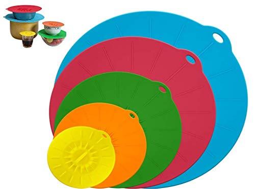 Hitopin Coperchio in Silicone, 5 Pezzi Coperchio Silicone per Alimenti, per Ciotole, Padelle, Piatti, Tazze, Forni, Frigoriferi (Blu, Rosso, Verde, Giallo, Arancione)