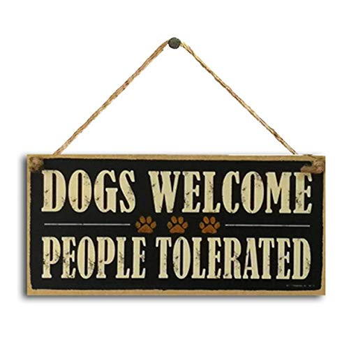 htrdjhrjy Delicated Vintage Perros Welcome People Son Toleradas Tabla Placa Letrero de Madera Granja Colgante Decoración Regalo - 10x20cm