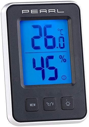 PEARL Termómetro de coche: Termómetro/higrómetro digital con pantalla de confort y pantalla LCD (Digital Thermo higrómetro)