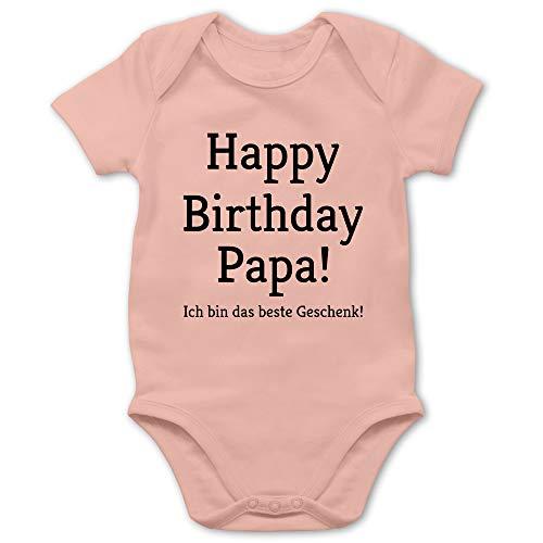 Anlässe Baby - Happy Birthday Papa 6/12 Monate - Babyrosa - Strampler Papa Geburtstag - BZ10 - Baby Body Kurzarm für Jungen und Mädchen