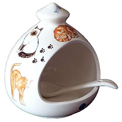 Cat Salt Pig. Large Porcelain Salt Pig with Ceramic Spoon by crackinchina