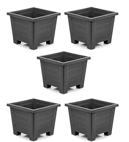 Maceta Cuadrada Plástico, 24x24, Set 5 Unidades, 7 litros, Maceteros (Antracita)