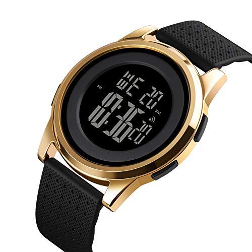 YUINK - Reloj deportivo digital ultrafino, resistente al agua, con cara grande, minimalista, para hombre