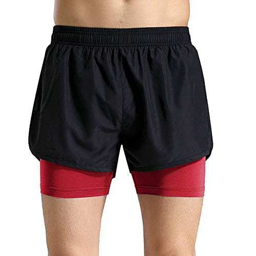 Fantastic Deal! Leepus Men Summer 2 in 1 Sports Shorts Quick Dry Breathable Bodycon Stretchable Runing Gym Training Fitness Shorts Sportswear Red