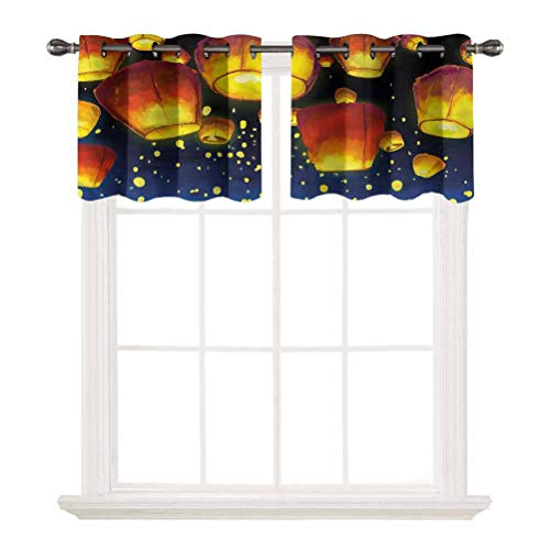 oobon Short Straight Drape Valance,Lantern,Floating Fanoos Chinese,Grommet Top Blackout Curtain Valance Window Treatment for Living Room,W52 by L12,2 Panels
