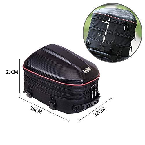 Motorfiets achterbank achterbank reistas intrekbare reistas waterdichte tas PU-leer met grote capaciteit (zwart rood) kan worden gebruikt als rugzak en omhangtas
