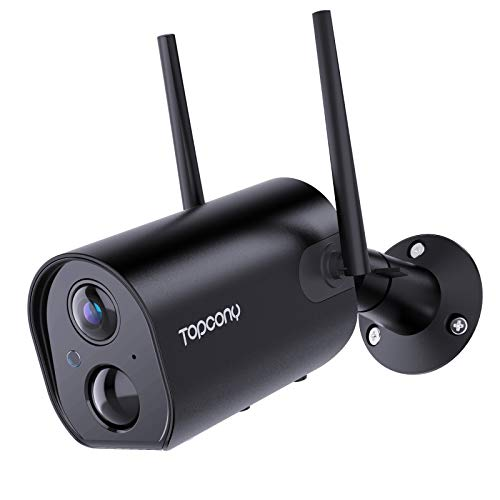 Cámara de Vigilancia con Batería Recargable de 10400mAh, Topcony 1080P Cámara de Seguridad IP WiFi Exterior Inalámbrica con IP66 Impermeable, Visión Nocturna 20M,Detección de Movimiento PIR