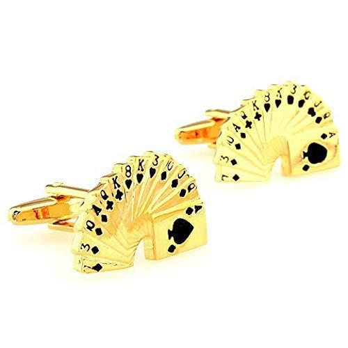 QFERW Manschettenknöpfe Luxushemd Gold Poker Manschettenknopf Marke Manschettenknöpfe Manschettenknöpfe Hochwertiger Schmuck, Gold