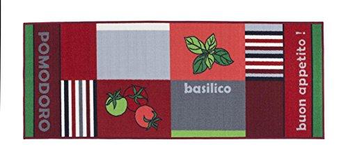 Küchenläufer Buongusto, rutschfest & waschbar, schadstoffgeprüfter Küchenteppich in div. Motiven, Farbe:Tomate;Größe:67x250cm