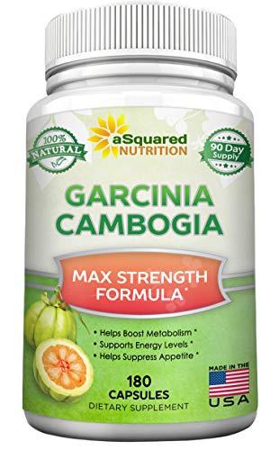 Natural Garcinia Cambogia Extract - 180 Capsule Pills, Garcinia Supplement, Ultra High Strength HCA, Max Premium Detox Tablet for Men & Women