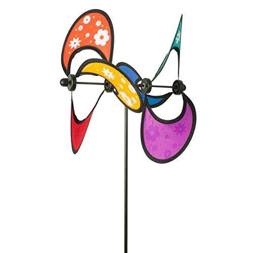 CIM Windspiel - Little Flower Rainbow Double - UV-beständig und Wetterfest - Windrad: Ø28cm, Gesamthöhe: 85cm - inkl. Fiberglasstab