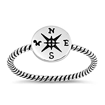 Compass Oxidized Pirate Rope Dainty Ring New 925 Sterling Silver Band Size 6