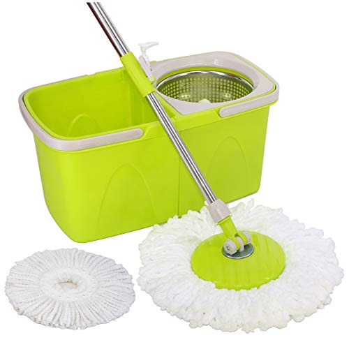 bucket with bonus mops SHIHUAN Dual Spin Mop with Clean & Dirty Water Bucket + 2 Microfiber Mop Heads