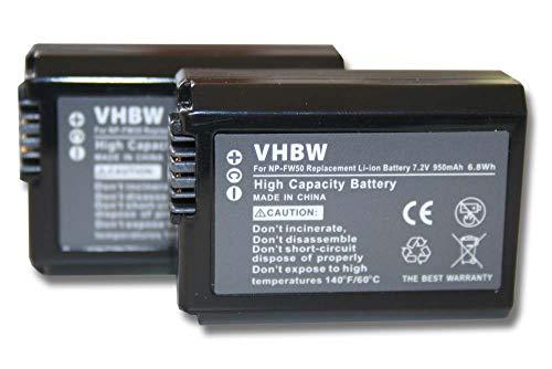 vhbw 2X Akku passend für Sony Alpha ILCE-6000, ILCE-6300, ILCE-7RM2, NEX-3 Kamera Digicam DSLR (950mAh, 7,2V, Li-Ion) mit Infochip