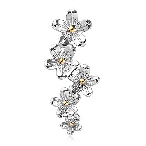 TJC Platinum and Yellow Gold Plated 925 Sterling Silver Floral Pendant