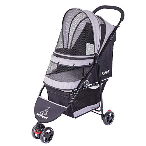 ROODO Escort 3 Wheel Pet Strollers Small Medium Dogs Cat Kitty Cup Holder Lightweight Travel System Foldable