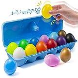 PREXTEX 12 Juguete de percusión Musical Maracas Egg Shakers - 12 Huevos de Pascua de plástico de Color en cartón - Gran Juguete de Aprendizaje de Ritmo para niños, Pintura de Bricolaje