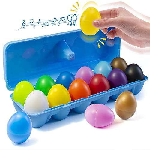 Prextex 12 Maracas Egg Shakers Giocattolo Musicale a percussione - 12 Uova di Pasqua in plastica a Colori in Scatola - Grande Giocattolo per l'apprendimento del Ritmo per Bambini