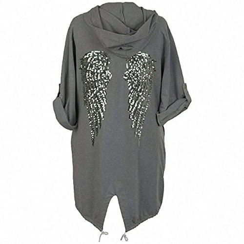 Sudadera con capucha para mujer, diseño de alas de ángel, con lentejuelas, espalda holgada, de gran tamaño