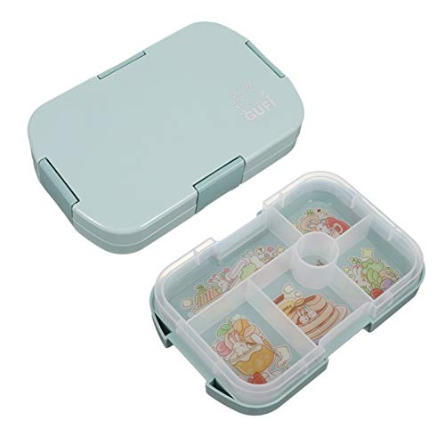 Canghai Kids Lunch Box with 6 Compartments, Sealed Bento Box for Boys and Girls, Eco-Friendly Food Containers Suitable for School Lunch Travel Picnics(Blue)