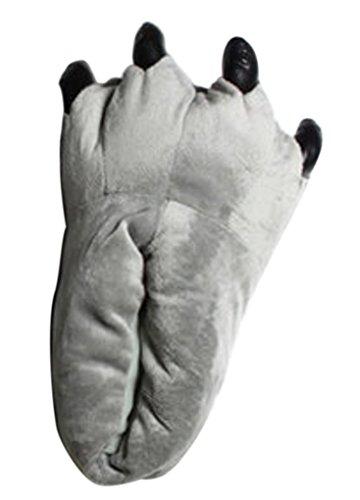 Happy Cherry - Costume Disfraz Cosplay Zapatos Patas Animal para Adulto Unisex Garras Zapatillas de Monstruo de Franela Invierno Grueso - Gris - Talla ES 40-44