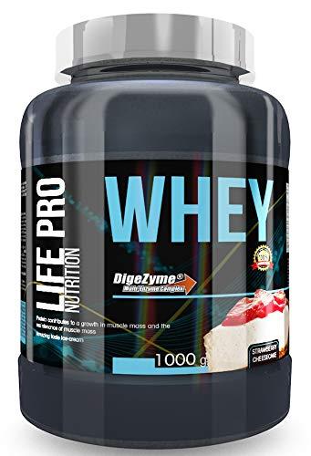 Life Pro Whey 1Kg | Suplemento Deportivo, 78% Proteína de Concentrado de Suero, Protege Tejidos, Anticatabolismo, Crecimiento Muscular y Facilita Períodos de Recuperación, Sabor Strawberry Cheesecake