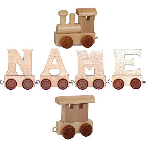 Buchstabenzug Namens-Set Lok + Timo + Endwaggon | EbyReo® Namenszug aus Holz | personalisierbar | Geschenk zur Geburt | Taufgeschenk | Geschenk zu Einschulung (Timo)