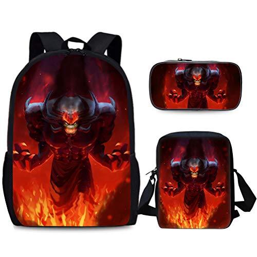 Samurai Jack Popular Styles Backpack Backpack Set 3 Pieces Casual Backpack+Shoulder Bag+Pencil Case Trendy Design Travel Bag Children Portable School Bag Sports Daypack Lightweight Hiking Bag Kids