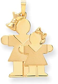 14ct Yellow Gold Solid Engravable Double layered Polished and satin Big Girl and Little Girl Engraveable Charm