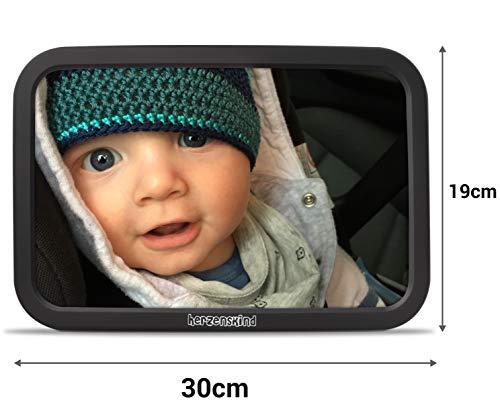 Hartkind achterzitspiegel voor baby's, grote babyspiegel (30 cm x 19 cm) met elegante soft-touch finish, onbreekbaar en eenvoudig te monteren
