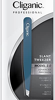 Cliganic Professional Eyebrow Tweezers Slant Tip | Precision Hair Tweezer for Men & Women, Stainless Steel | Best for Plucking Chin Facial Hair | Cliganic 90 Days Warranty by Cliganic