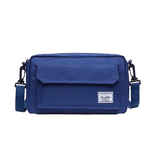 Umhängetasche Herren, Lässige Messenger Tasche, KAUKKO Kurierbeutel für Arbeit Uni Reise Camping Wandern mit 2 Möglichkeiten zu tragen - Schultertaschen Gürteltasche (Blau KE01)