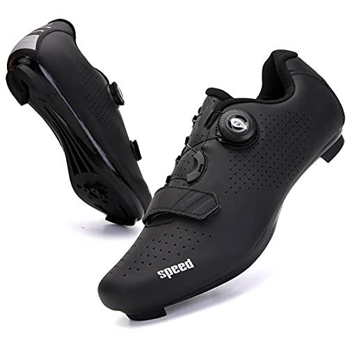 DTKJ Scarpe da ciclismo da uomo SPD/SPD-SL Compatibile Tacchetta Esercizio Bicicletta Traspirante Stabile Confortevole Scarpe Rider Equitazione Sneaker, (Strada nera pura), 38 2/3 EU