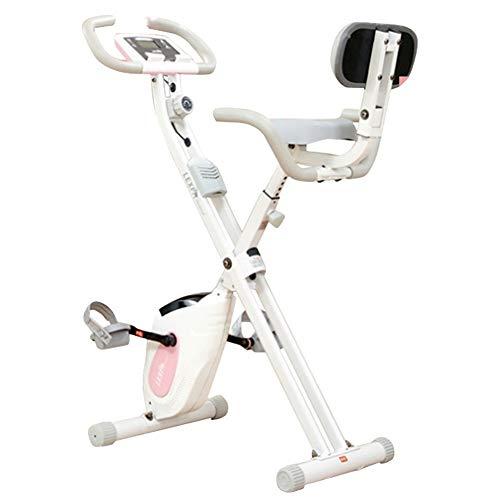 Erru Bicicleta Estática Bicicleta de Ejercicio Plegable Rosa Vertical, Bicicleta Estacionaria de Entrenamiento con Respaldo,...