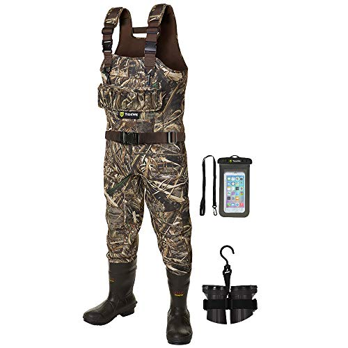TIDEWE Hunting Wader, 5mm Neoprene Chest Waders with 1400 Gram Insulation Rubber Boots, Waterproof...