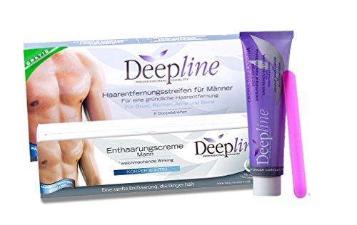 Deepline praktisches Enthaarungsset für Männer mit Enthaarungscreme PLUS GRATIS Kaltwachsstreifen zur Enthaarung im Brust, Intim, Nacken, Achsel und Rückenbereich.
