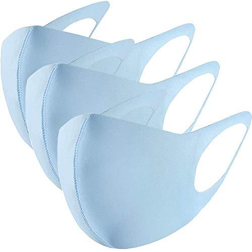 GC-TECH® 3 x modische Mundbedeckung f. Kinder und Erwachsene Maske perfekte Passform waschbare Gesichtsmaske div. Größen u. Farben (hellblau Größe M)