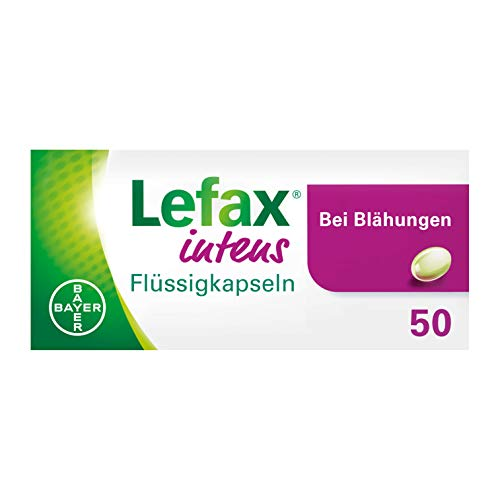 Lefax Intens Flüssigkapseln bei stärkeren Blähungen und weiteren gasbedingten Beschwerden wie Druck- und Völlegefühl, krampfartigen Bauchschmerzen; leicht zu schlucken, 50 Stück