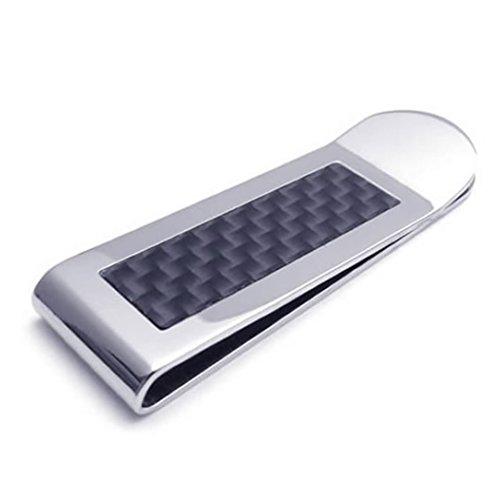 KONOV pinza a banconote–Design minimalista–Alta Qualità–Acciaio Inossidabile–Fibra di Carbonio–per uomo e donna–colore nero argento–con sacchetto regalo–f22005