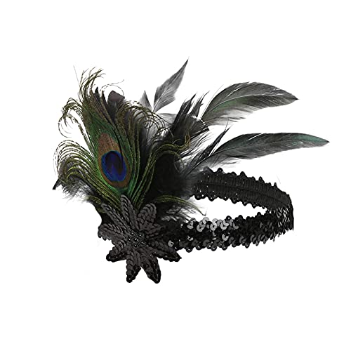 MGW 1920 Flapper Diadema de Pluma de Pavo Real Cinta para el Pelo con Lentejuelas Temática decoración artística Vintage Gatsby Temática Fiesta Diadema 2 Piezas