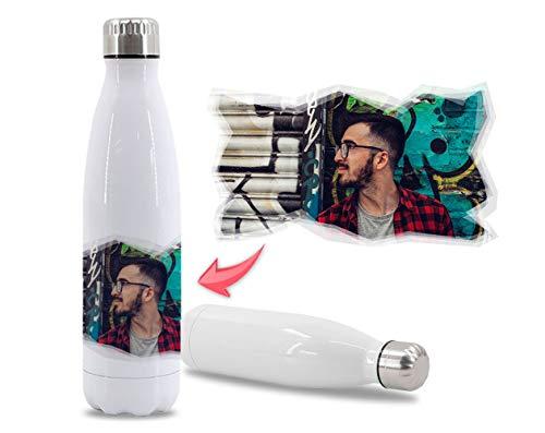 Getsingular Botellas de Agua de Acero Inoxidable Personalizadas con tu Foto y Diseño | Botellas térmicas de Doble Capa | Libre de BPA | Bebidas frías 24h y Calientes 12h | 350 ml / 500 ml / 750 ml