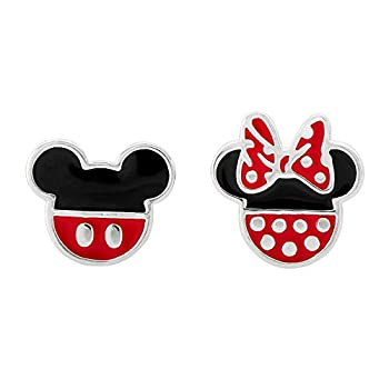 Disney Mickey Mouse and Minnie Mouse Mismatched Silver Plated Stud Earrings  Jewelry for Women and Girls