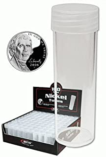 COIN STORAGE TUBES, round clear plastic w/ screw on tops for NICKELS (Quantity of 50 tubes)
