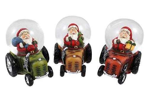 Creation Gross 3X Schneekugel auf Traktor mit Weihnachtsmann Ø 45mm