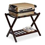 Relaxdays Soporte Plegable (54,5 x 66 x 44,5 cm, 2 estantes, para Almacenamiento de Maletas, Hotel), Color marrón