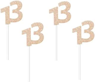 """Glitter Rose Gold 13th Birthday Party Cupcake Toppers. 24 Pack Number 13"""" Cupcake Toppers"""