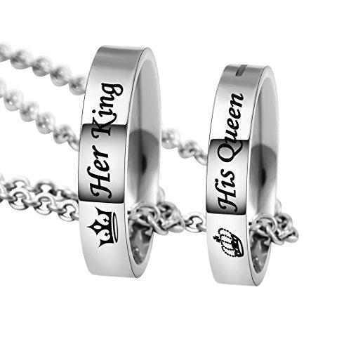 MJARTORIA Damen Halskette Silber Farbe Sperren Schlüssel Partnerketten Freundschftsketten mit Gravur Ring Kreis Ketten für 2 (King/Queen)