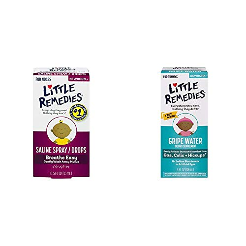 Little Remedies Infant Gas and Nose Solutions (1-0.5 oz Saline Spray and Drops, 1-4 oz Fast Acting Gripe Water)
