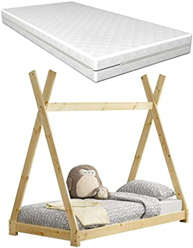 Kinderbett aus Kiefernholz mit Matratze 80x16cm Tipi-Design Bett Holzbett Hausbett Kaltschaummatratze  -Tex Standard 100 Allergikergeeignet Atmungsaktiv